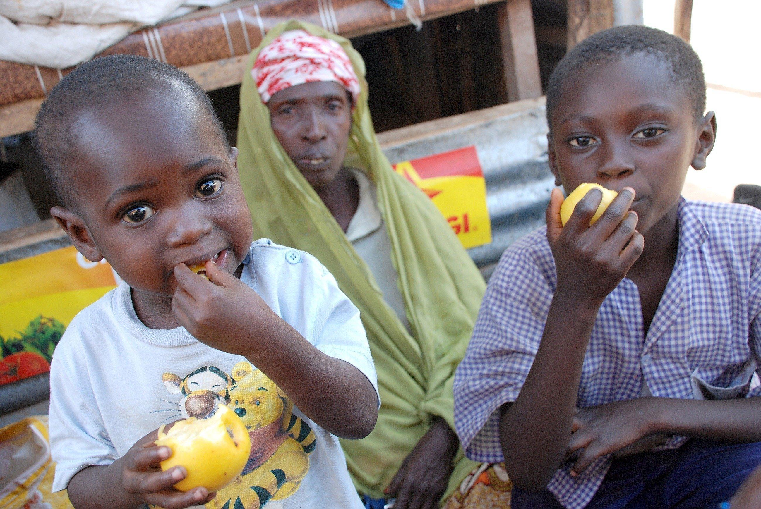 Afrikanische Kinder essen Äpfel.