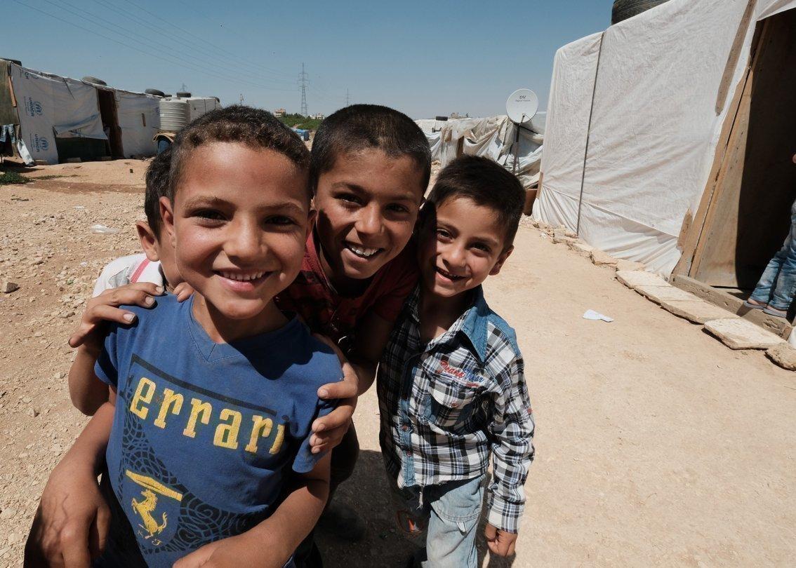 Un groupe de garçons syriens.